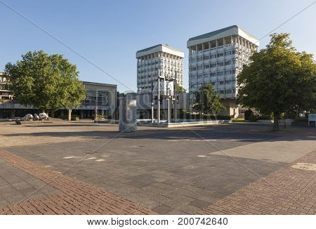 Marl, North Rhine-Westphalia, Germany: Town Hall and Museum buildings at Creiler Platz square