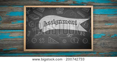 Image of ac chalkboard against assignment against black background