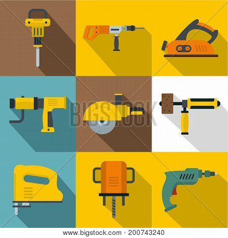 Electric tools icons set. Flat set of 9 electric tools vector icons for web with long shadow