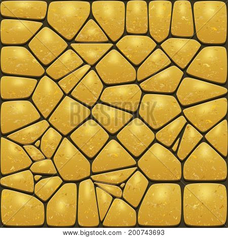 Background of the realistic gold stones. Cobblestone wall or pavement. Vector illustration