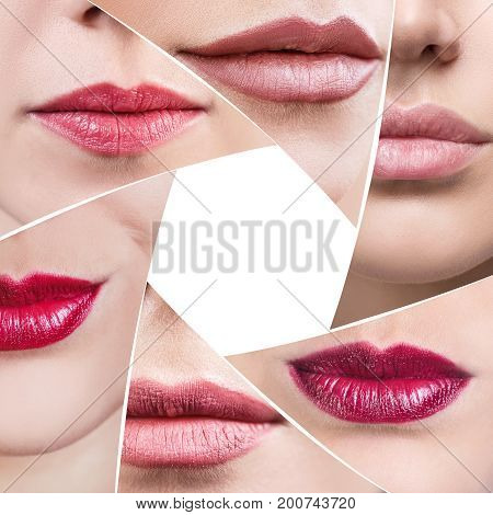 Collage of perfect female lips in diaphragm shape. Over white background