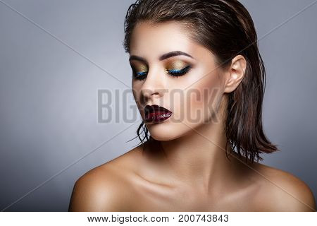 Beauty Fashion Model Girl With Bright Make Up. Fashion Art Portrait With Drops On Skin And Wet Hair