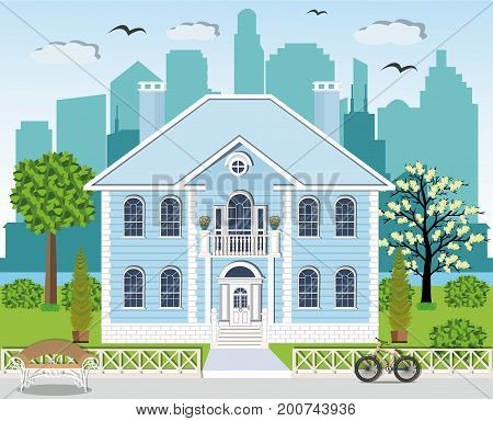 Modern graphic cottage facade in bright colors with spacious yard. Stylish  set - house, green yard, trees, fence, bench, bicycle, flowers and city background. Flat style vector illustration.