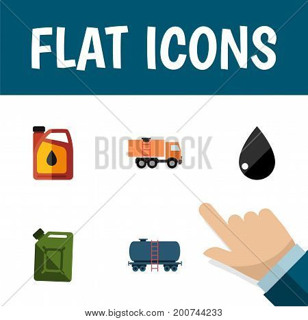 Flat Icon Fuel Set Of Fuel Canister, Container, Droplet And Other Vector Objects