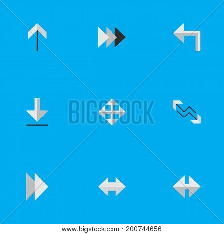 Elements Onward, Loading, Arrow And Other Synonyms Arrow, Export And Forward.  Vector Illustration Set Of Simple Cursor Icons.
