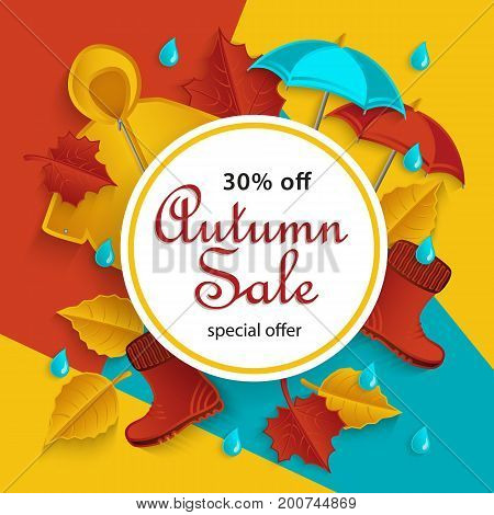 Autumn sale, promotion banner with white round frame and fall objects raincoat, umbrella, rubber boots, leaves, flat style vector illustration. Autumn, fall sale banner with flat cartoon elements