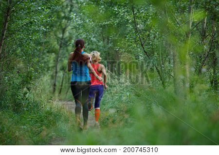 Photo from back of athletes running in the forest at summer morning