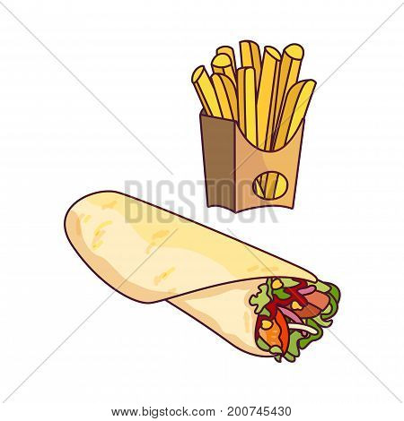 Vector doner kebab, potato fry set. Fast food flat cartoon isolated illustration on a white background. Roll shawarma with fresh vegetables and french fries in paper box