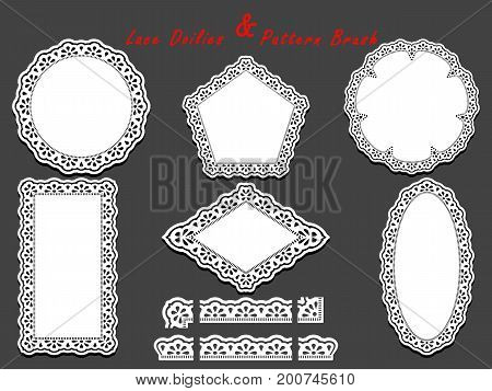 Set of delicate White Lace pattern brush and different lacy napkins doilies and tracery elements. Vector illustration.