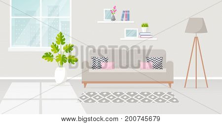 Vector banner with modern interior of the living room. Design of a cozy room with sofa floor lamp window carpet and decor accessories. Vector illustration.