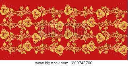 Traditional russian hohloma art, flower lines seamless pattern vector. Russian traditional ornament in red and gold colors. Classic khokhloma floral background