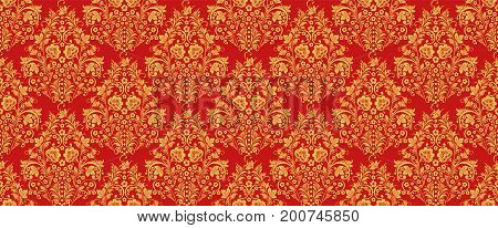 Russian national hohloma style seamless pattern vector in traditional red and gold colors. Classic khokhloma ornament. Floral art decor