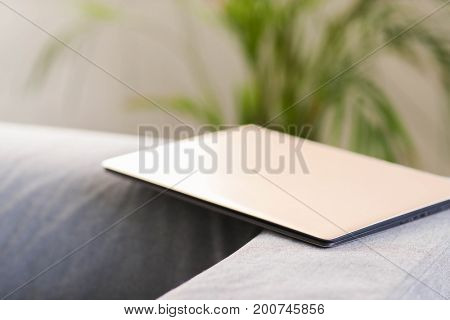 Technology and internet. Laptop at home