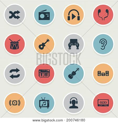 Elements Headphones, Loudspeaker, Hear And Other Synonyms Synthesizer, Listen And Loudspeaker.  Vector Illustration Set Of Simple Melody Icons.
