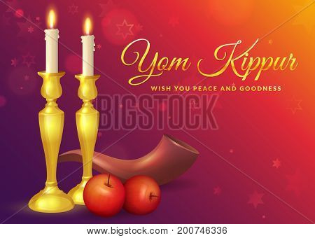 Yom Kippur greeting card with candles apples and shofar. Jewish holiday background. Vector illustration.