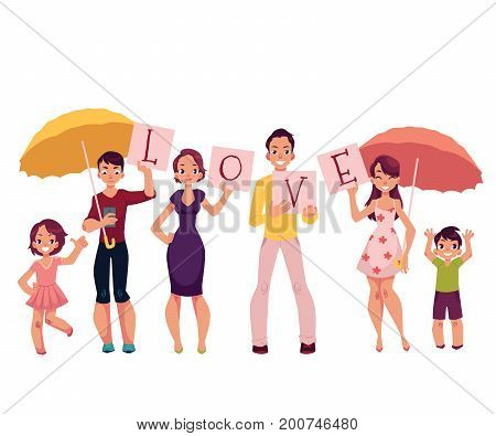 Family members, parents, children holding letters of word LOVE, home weather concept cartoon vector illustration on white background. Parents and children holding letters of Love word, family concept