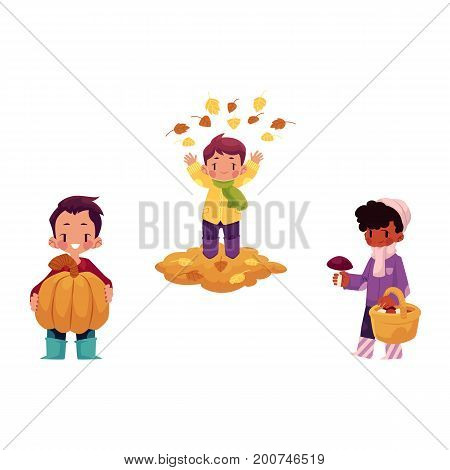 vector girls character set. Boy throwing leaves up, kid keeping big pumpkin, girls collecting mushrooms in autumn clothing. cartoon isolated illustration on a white background. Autumn kids activity