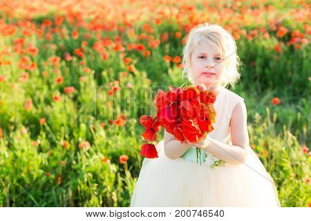 nature, flora, ecology, future generation, childcare, celebration concept - little cute fair-haired girl with bunny teeth in white party dress holding bouquet of bright red poppies