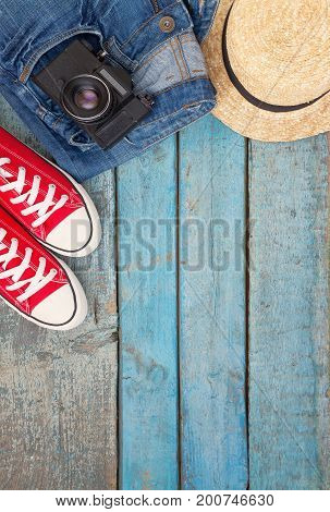 Still Life Of Various Items For Recreation, Clothing, Hat, Sneak
