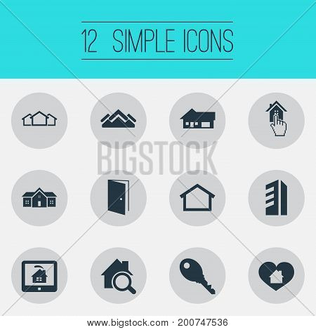 Elements Real Estate Database, Heart, Open Door And Other Synonyms Door, Protection And Residence.  Vector Illustration Set Of Simple Estate Icons.