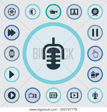 Elements Smartphone, Start Audio, Picture And Other Synonyms Begin, Play And Sun.  Vector Illustration Set Of Simple Media Icons.