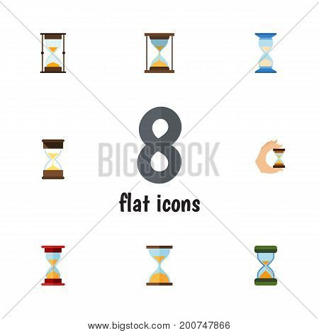 Flat Icon Hourglass Set Of Hourglass, Loading, Clock And Other Vector Objects