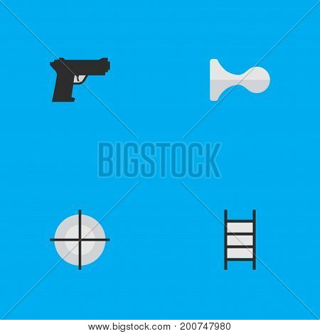Elements Hunting, Stairs, Weapon And Other Synonyms Gun, Target And Ladder.  Vector Illustration Set Of Simple Offense Icons.