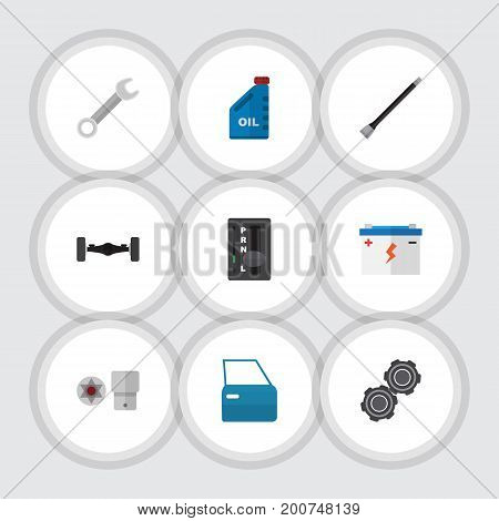 Flat Icon Auto Set Of Automobile Part, Automatic Transmission, Petrol And Other Vector Objects
