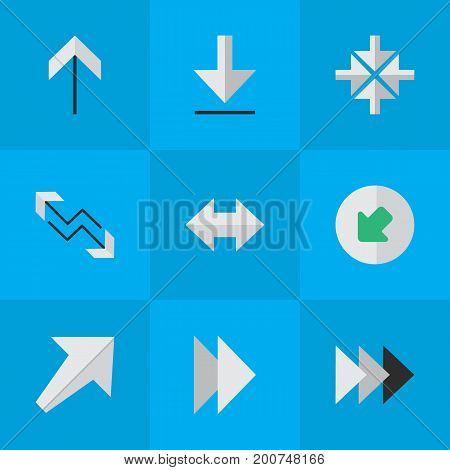 Elements Onward, Inside, Northwestward And Other Synonyms Inside, Northwest And Loading.  Vector Illustration Set Of Simple Arrows Icons.