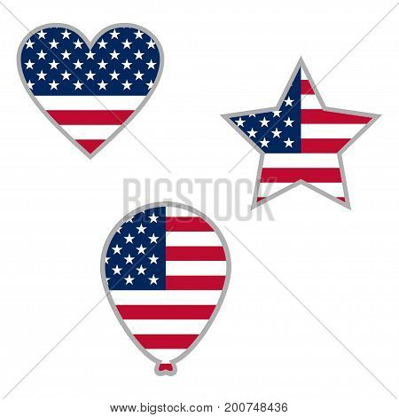 United States Flag in form button of icon