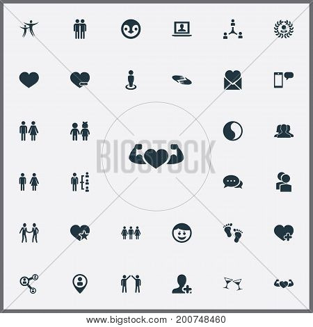 Elements Pals, Message, Camaraderie And Other Synonyms Smile, Community And Couple.  Vector Illustration Set Of Simple  Icons.