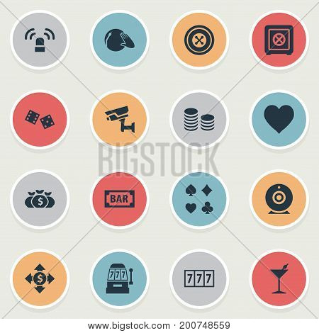 Elements Bank, Wheel, Slot Machine And Other Synonyms Exchange, Bar And Dj.  Vector Illustration Set Of Simple  Icons.