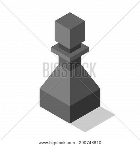Black Isometric Pawn Isolated