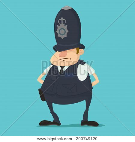 Cartoon illustration of metropolitan British police officer in traditional helmet