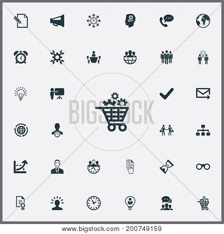 Elements Watch, Cooperation, Group And Other Synonyms Lightbulb, Binocular And Growth.  Vector Illustration Set Of Simple Business Icons.
