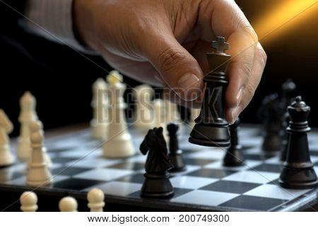 Businessman Play Chess Use King - Chess Piece White To Crash Overthrow