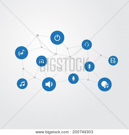 Elements Support  Service, Voice, Earphones And Other Synonyms Quiet, Microphone And Sing.  Vector Illustration Set Of Simple Music Icons.