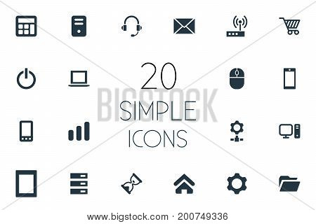 Elements Cogwheel, Home, Laptop And Other Synonyms Freelance, Palmtop And Hardware.  Vector Illustration Set Of Simple Device Icons.