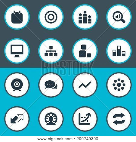 Elements Arrows, Increase Graph, Repeat And Other Synonyms Monitor, Enlarge And Career.  Vector Illustration Set Of Simple Seminar Icons.