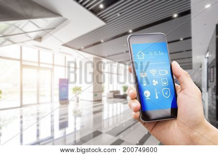 smart phone with smart home in spacious center of business building