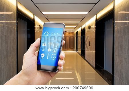 smart phone with smart home in modern corridor