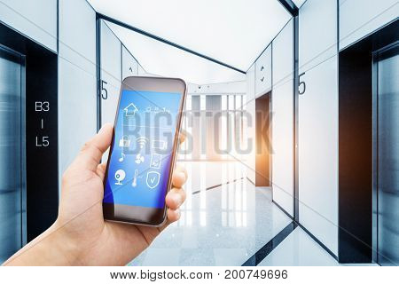 smart phone with smart home in hallway of business building
