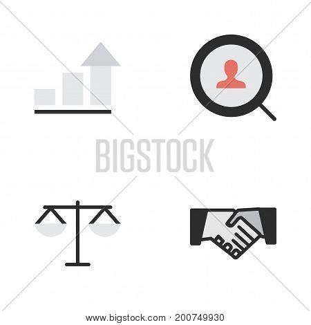 Elements Magnifier, Agreement, Growing And Other Synonyms Search, Magnifier And Handshake.  Vector Illustration Set Of Simple Trade Icons.