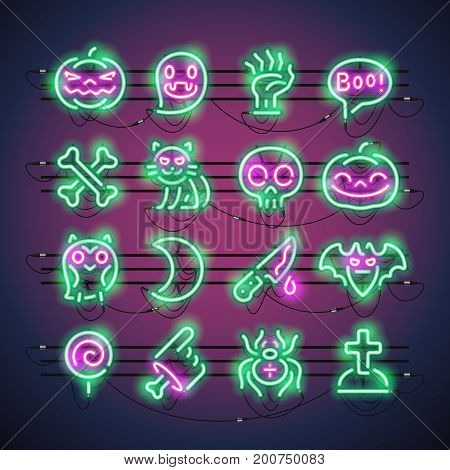 Set of Halloween neon signs makes it quick and easy to customize your holiday projects. Used neon vector brushes included.