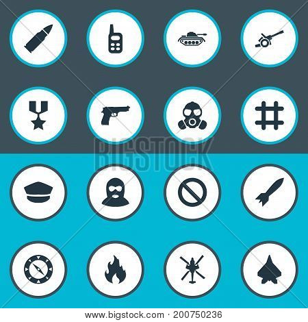 Elements Terrorist, Aircraft, Shot And Other Synonyms Flame, Remote And Fire.  Vector Illustration Set Of Simple War Icons.