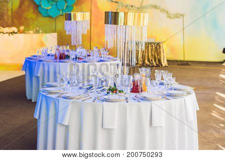 Serving A Wedding Dinner. Catering Concept