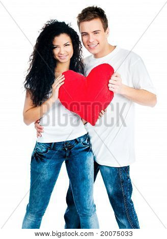 couple holding a red heart