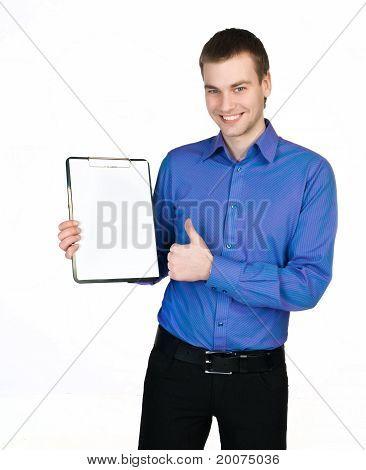 man in a purple shirt