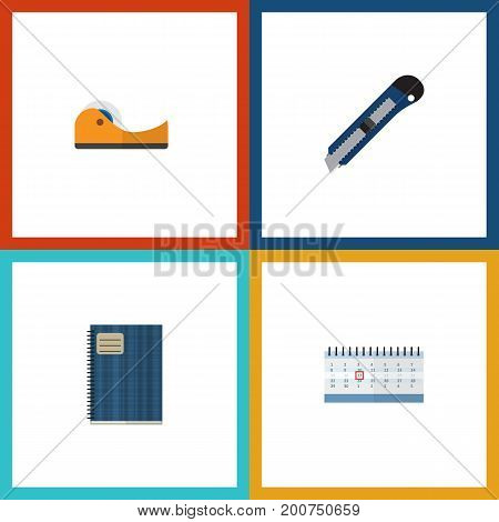 Flat Icon Stationery Set Of Copybook, Sticky, Date Block And Other Vector Objects