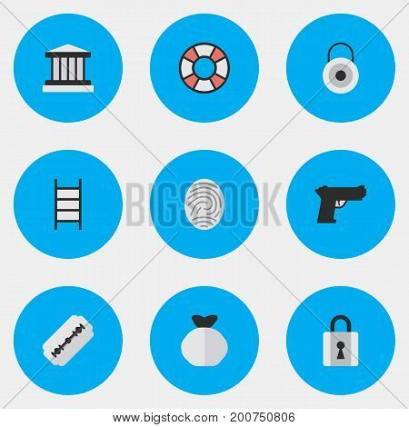 Elements Stairs, Lifesaver, Fingerprint And Blade.  Vector Illustration Set Of Simple Offense Icons.